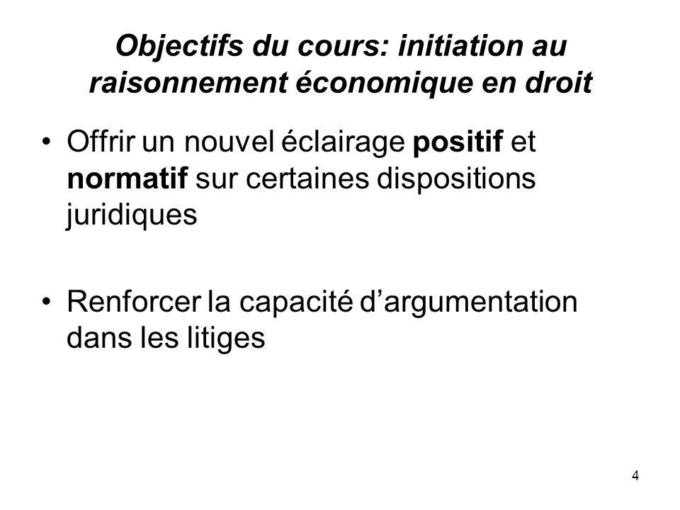 Objectifs du cours: initiation au raisonnement économique en droit