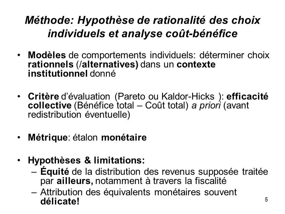 Méthode: Hypothèse de rationalité des choix individuels et analyse coût-bénéfice