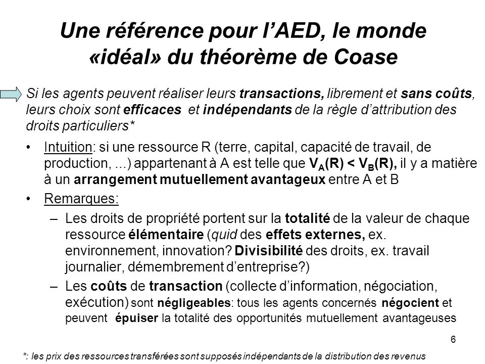 Une référence pour l'AED, le monde «idéal» du théorème de Coase