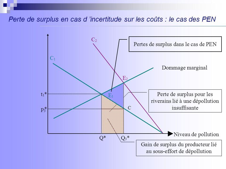 Perte de surplus en cas d 'incertitude sur les coûts : le cas des PEN
