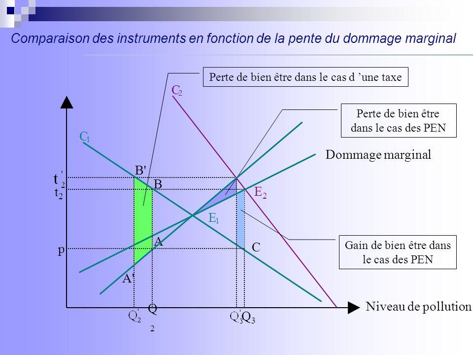 Comparaison des instruments en fonction de la pente du dommage marginal