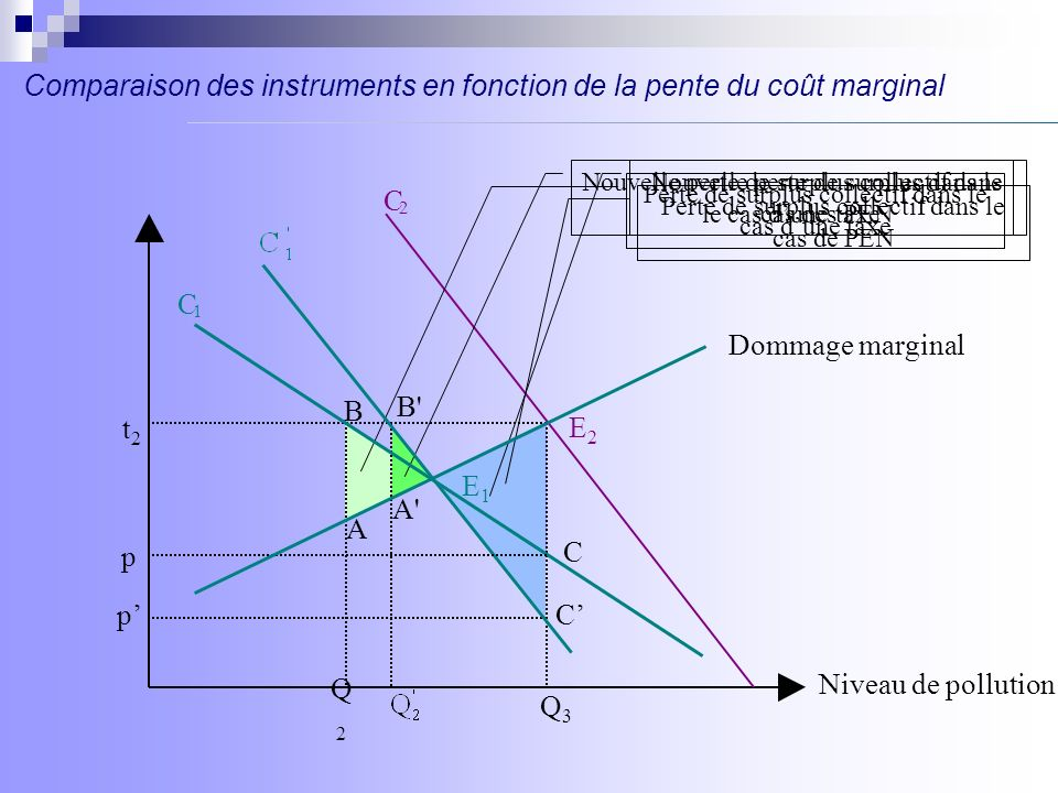 Comparaison des instruments en fonction de la pente du coût marginal