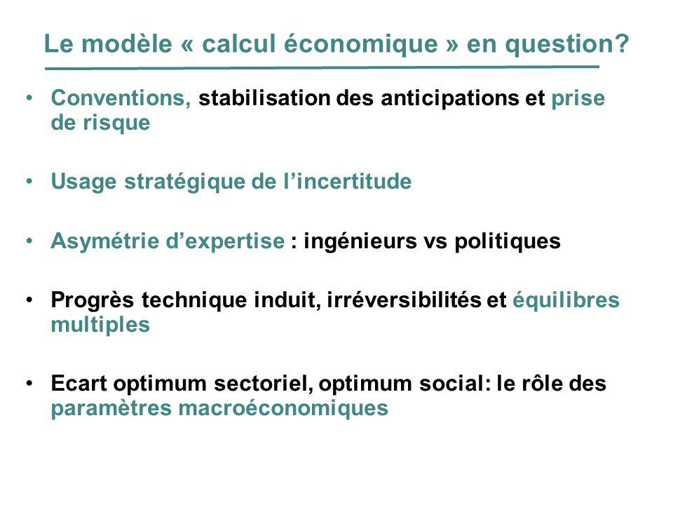 Le modèle « calcul économique » en question