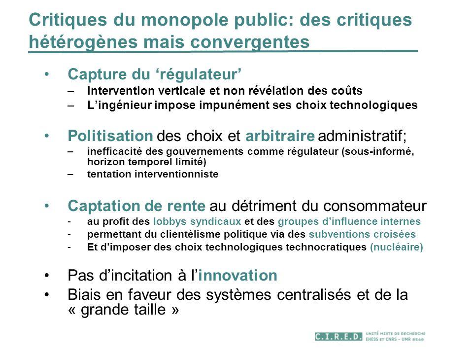 Critiques du monopole public: des critiques hétérogènes mais convergentes