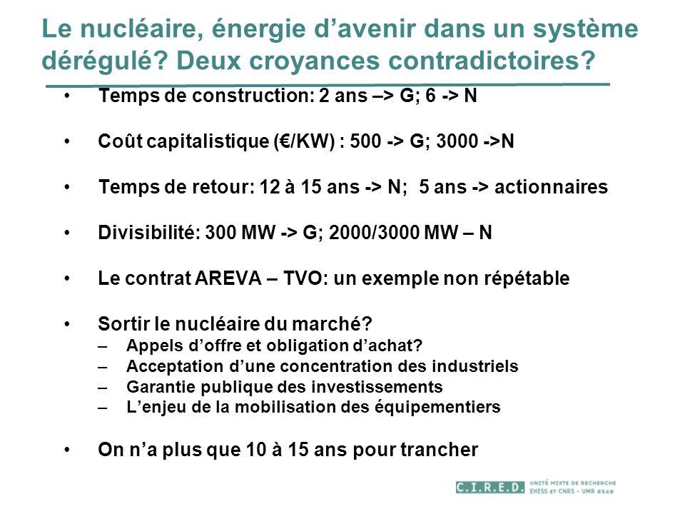 Le nucléaire, énergie d'avenir dans un système dérégulé