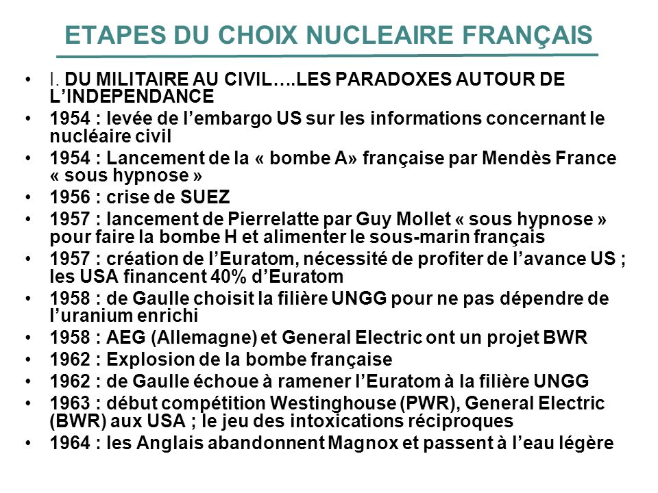 ETAPES DU CHOIX NUCLEAIRE FRANÇAIS