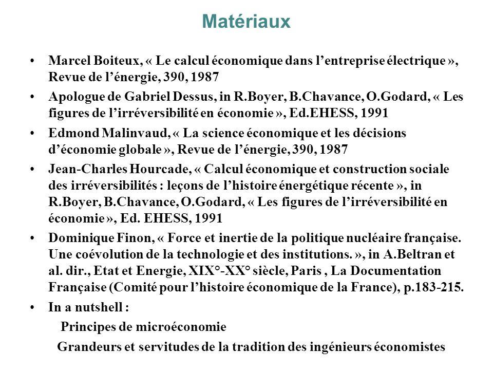 Matériaux Marcel Boiteux, « Le calcul économique dans l'entreprise électrique », Revue de l'énergie, 390, 1987.