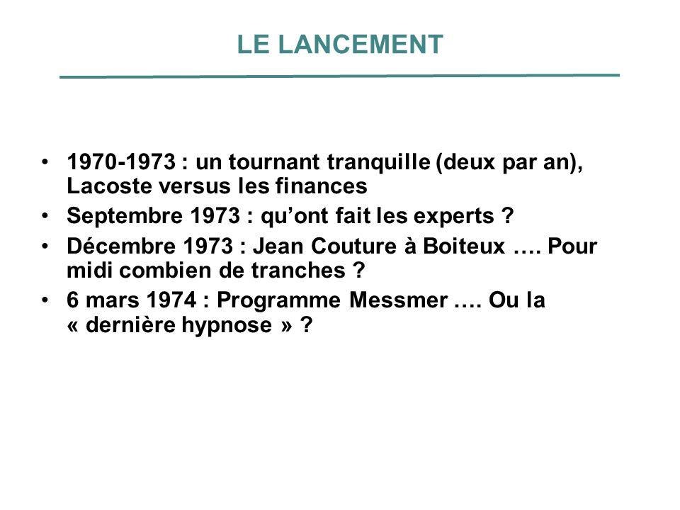 LE LANCEMENT 1970-1973 : un tournant tranquille (deux par an), Lacoste versus les finances. Septembre 1973 : qu'ont fait les experts