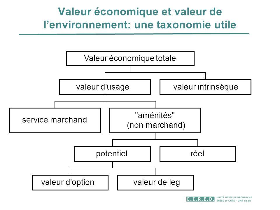 Valeur économique et valeur de l'environnement: une taxonomie utile