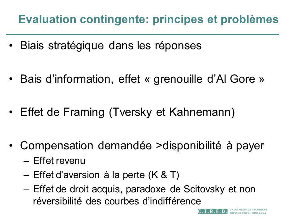 Evaluation contingente: principes et problèmes