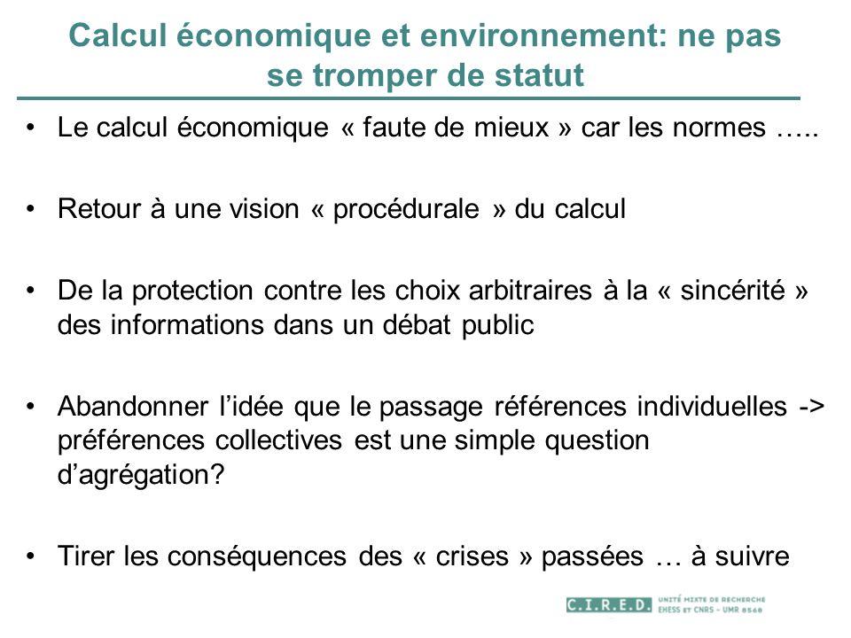Calcul économique et environnement: ne pas se tromper de statut