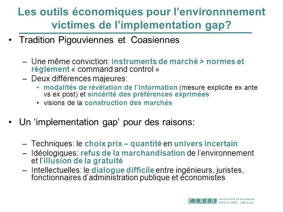 Les outils économiques pour l'environnnement victimes de l'implementation gap