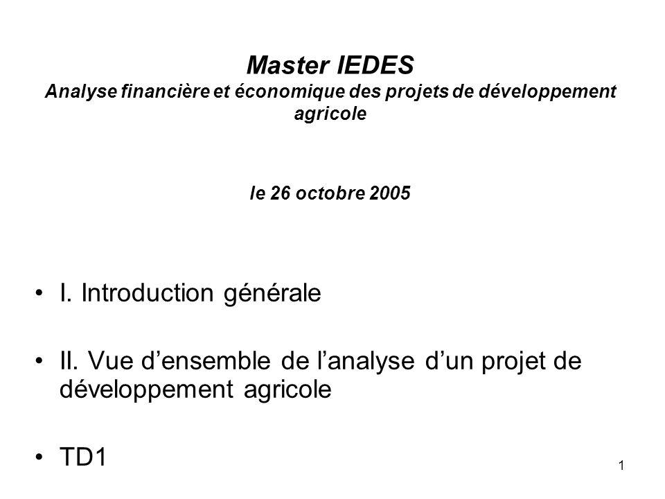 Master IEDES Analyse financière et économique des projets de développement agricole le 26 octobre 2005