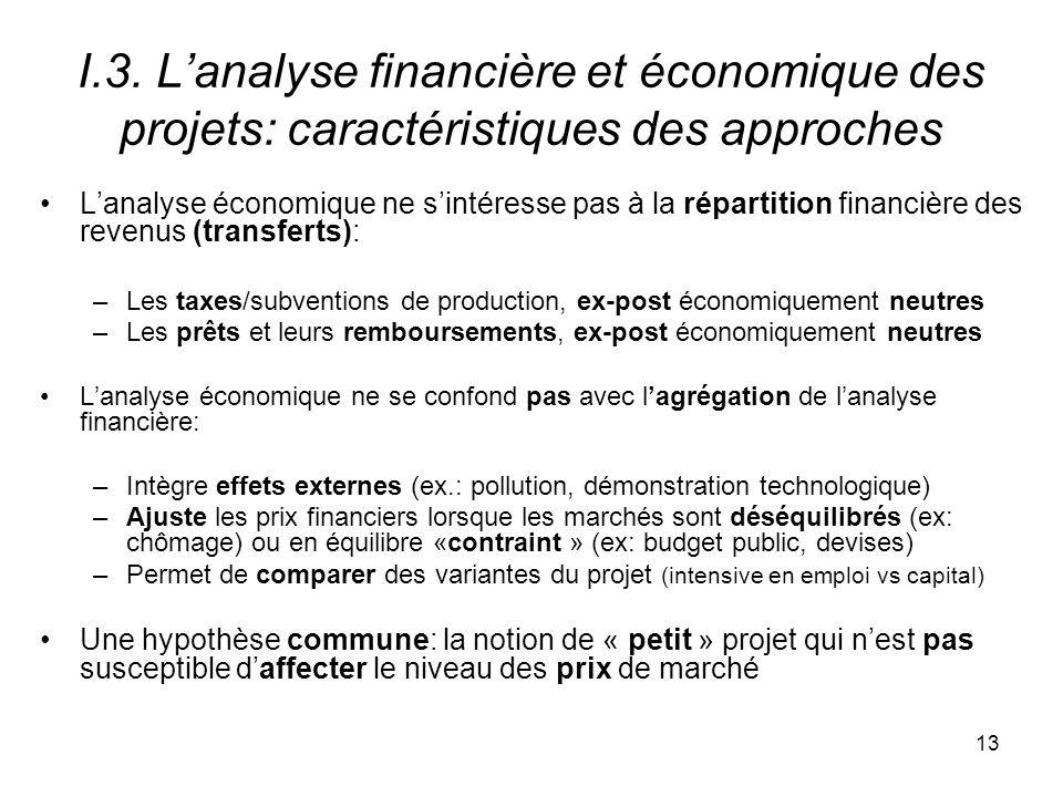 I.3. L'analyse financière et économique des projets: caractéristiques des approches