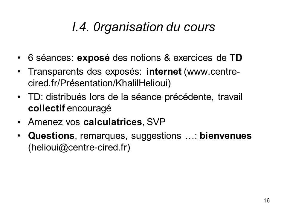 I.4. 0rganisation du cours 6 séances: exposé des notions & exercices de TD.