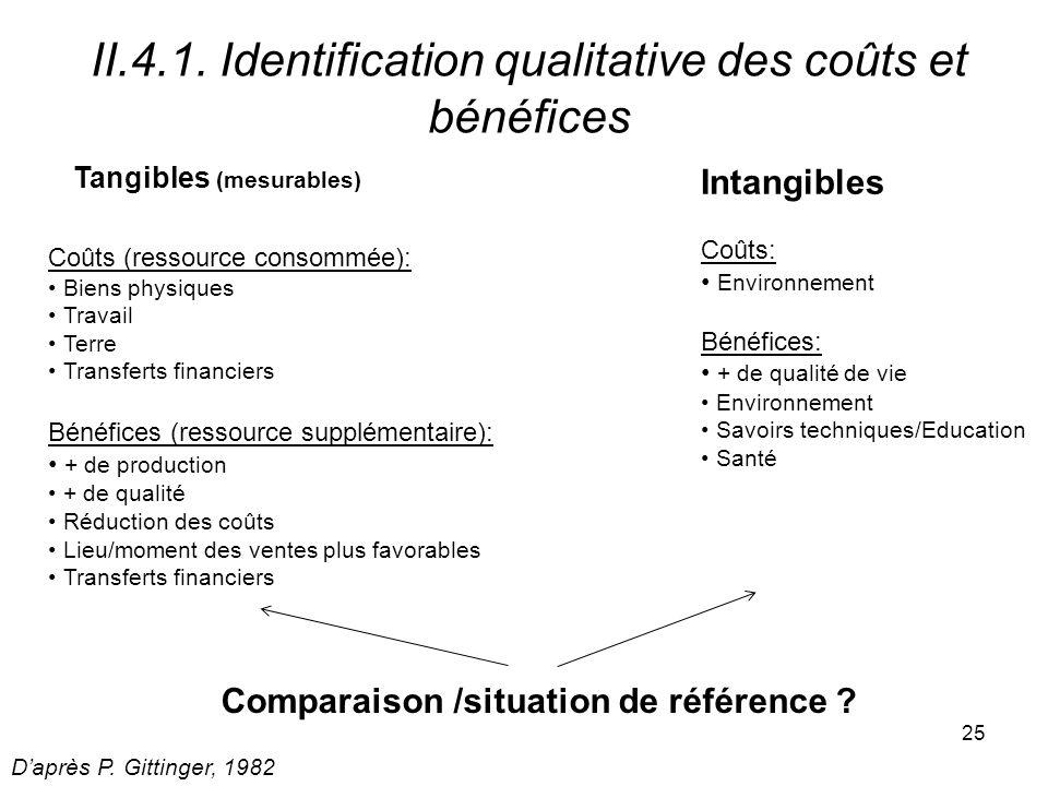 II.4.1. Identification qualitative des coûts et bénéfices