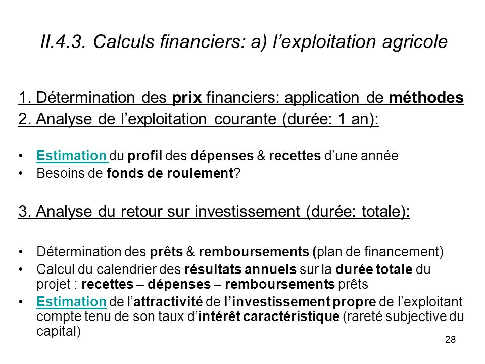 II.4.3. Calculs financiers: a) l'exploitation agricole