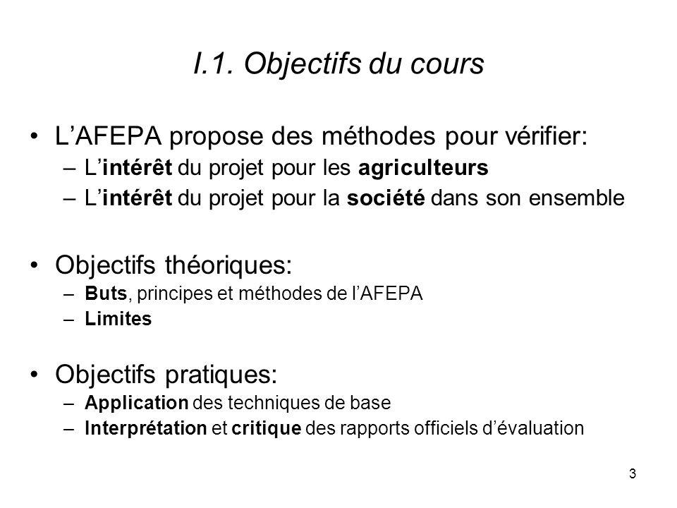 I.1. Objectifs du cours L'AFEPA propose des méthodes pour vérifier: