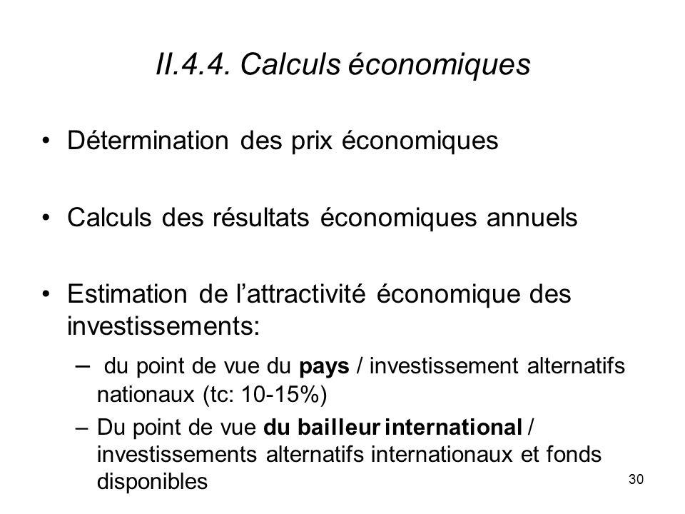 II.4.4. Calculs économiques