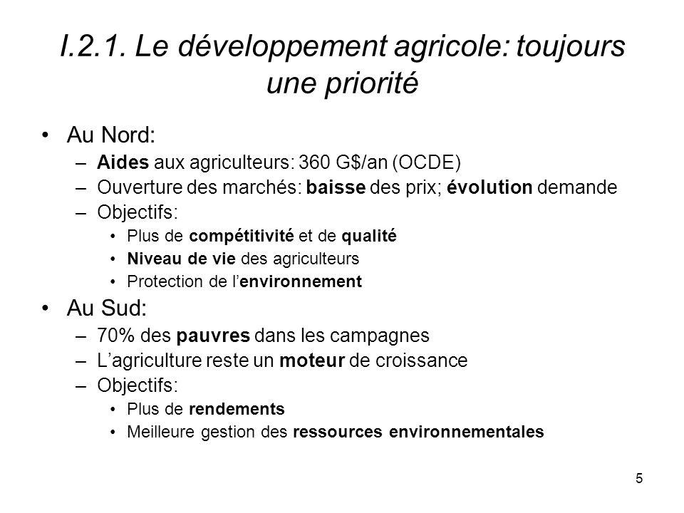 I.2.1. Le développement agricole: toujours une priorité