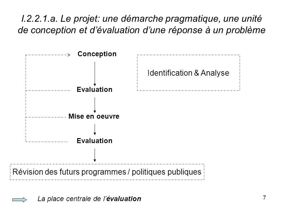 I.2.2.1.a. Le projet: une démarche pragmatique, une unité de conception et d'évaluation d'une réponse à un problème