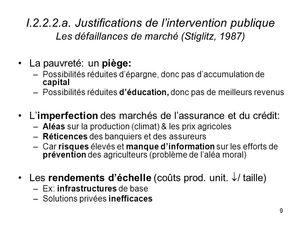I.2.2.2.a. Justifications de l'intervention publique Les défaillances de marché (Stiglitz, 1987)