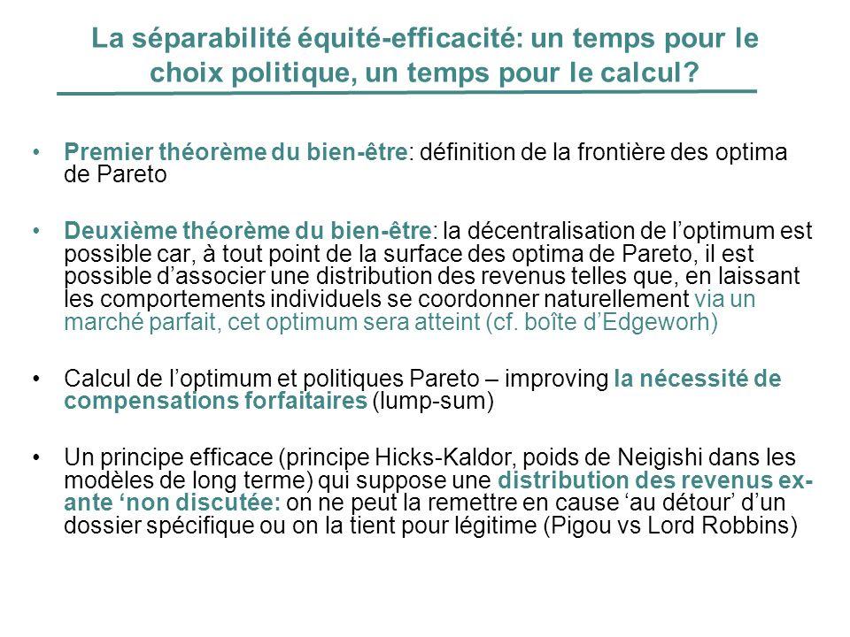 La séparabilité équité-efficacité: un temps pour le choix politique, un temps pour le calcul