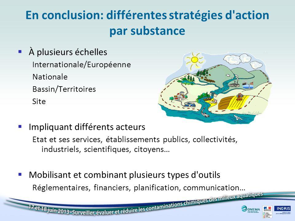 En conclusion: différentes stratégies d action par substance