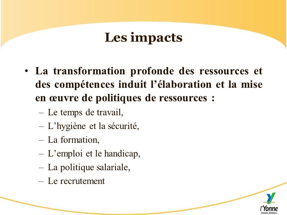 Les impacts La transformation profonde des ressources et des compétences induit l'élaboration et la mise en œuvre de politiques de ressources :