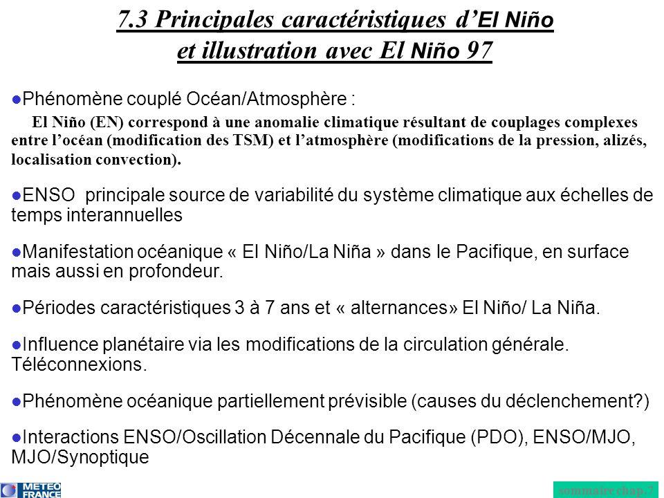 7.3 Principales caractéristiques d'El Niño et illustration avec El Niño 97