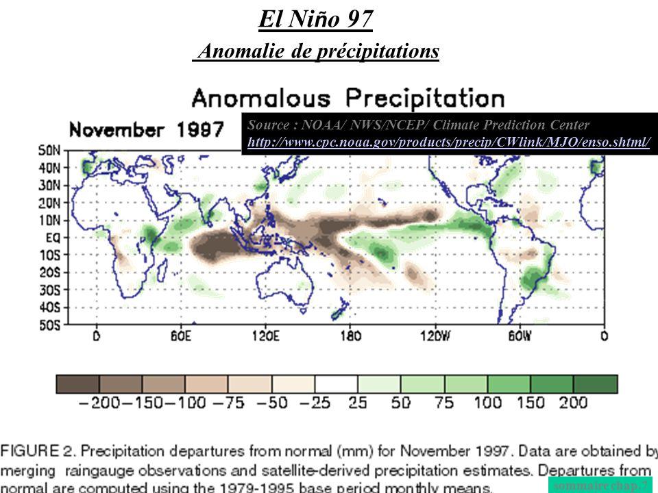 El Niño 97 Anomalie de précipitations