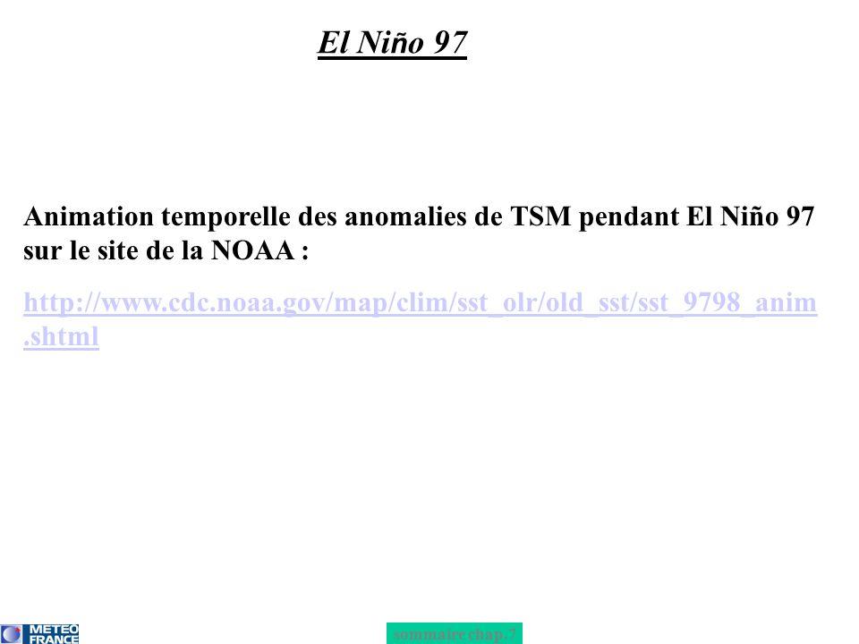 El Niño 97 Animation temporelle des anomalies de TSM pendant El Niño 97 sur le site de la NOAA :