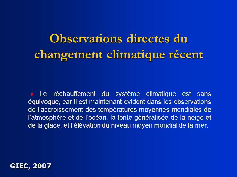 Observations directes du changement climatique récent
