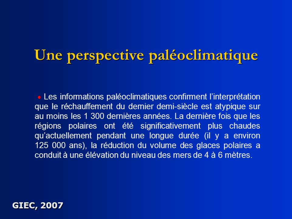 Une perspective paléoclimatique