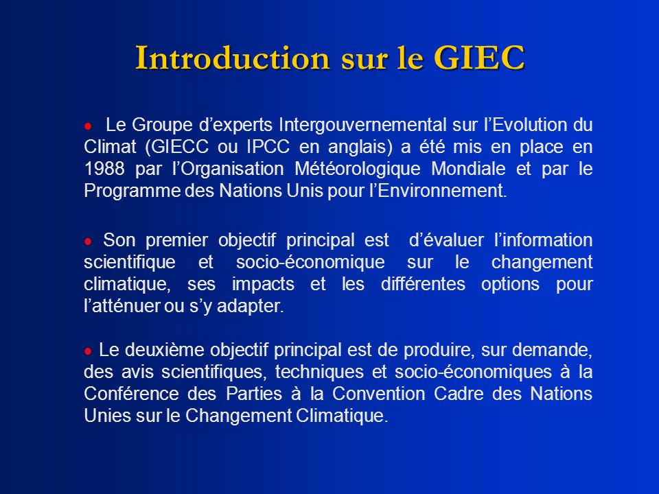 Introduction sur le GIEC