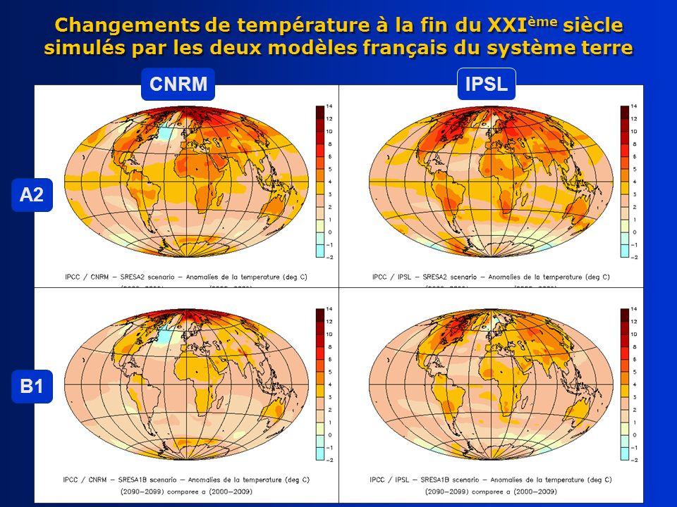 Changements de température à la fin du XXIème siècle simulés par les deux modèles français du système terre