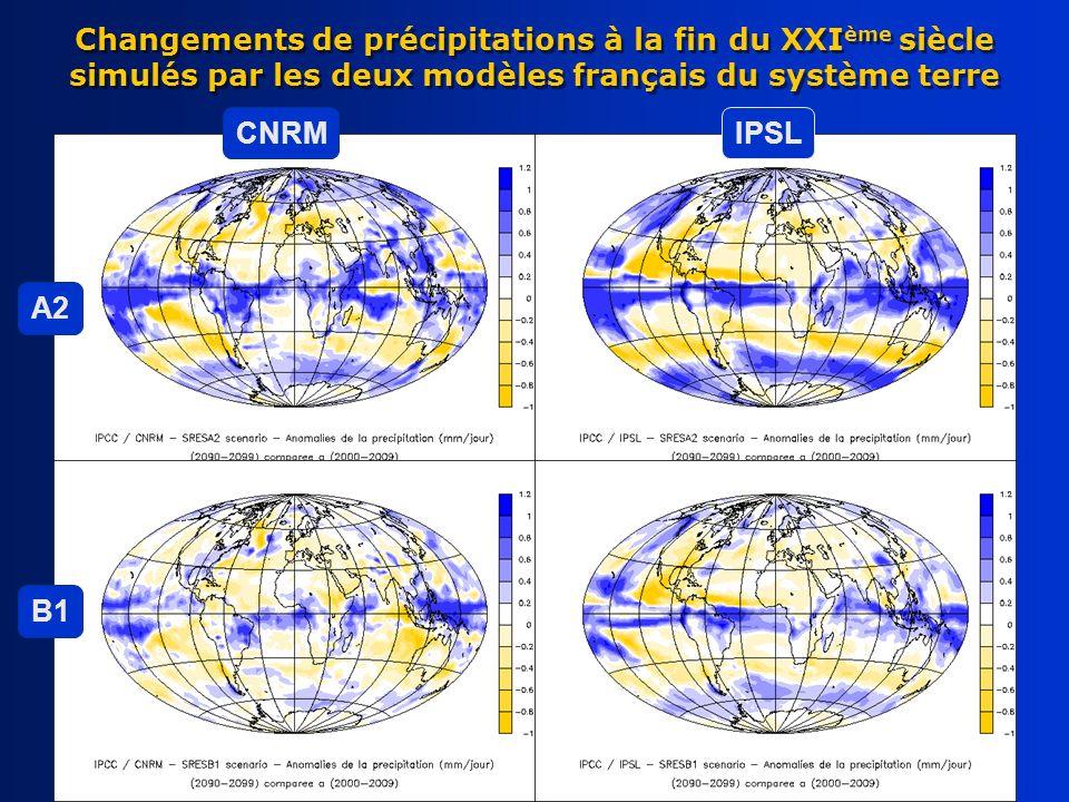 Changements de précipitations à la fin du XXIème siècle simulés par les deux modèles français du système terre