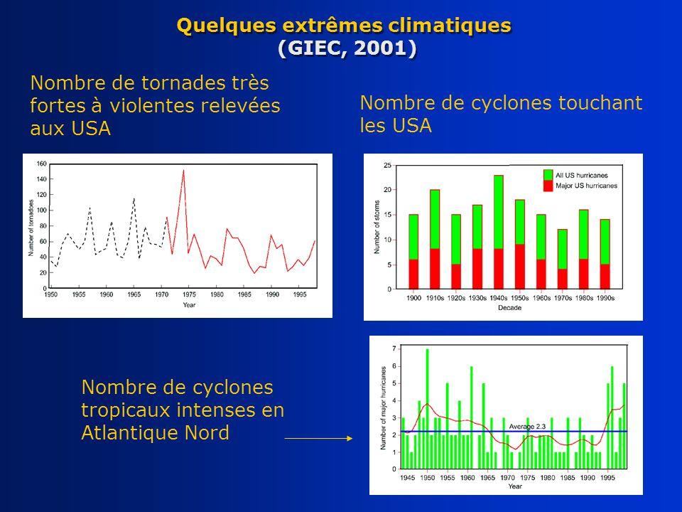 Quelques extrêmes climatiques (GIEC, 2001)