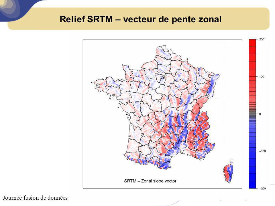Relief SRTM – vecteur de pente zonal