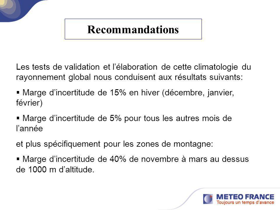 RecommandationsLes tests de validation et l'élaboration de cette climatologie du rayonnement global nous conduisent aux résultats suivants:
