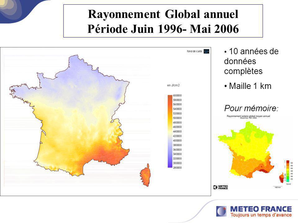 Rayonnement Global annuel Période Juin 1996- Mai 2006