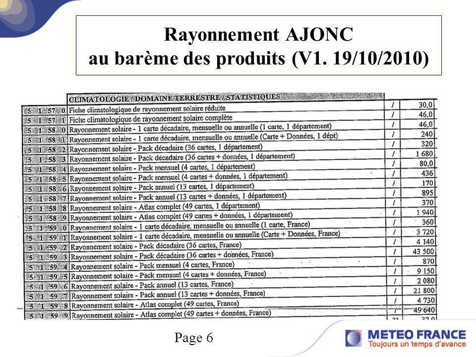 au barème des produits (V1. 19/10/2010)