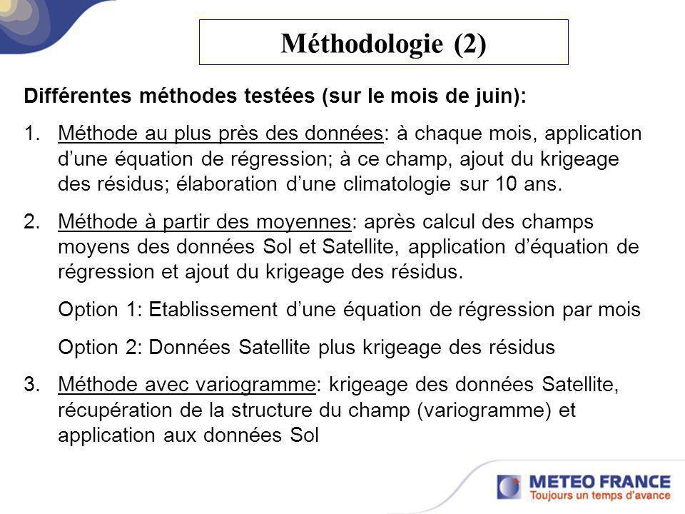 Méthodologie (2) Différentes méthodes testées (sur le mois de juin):
