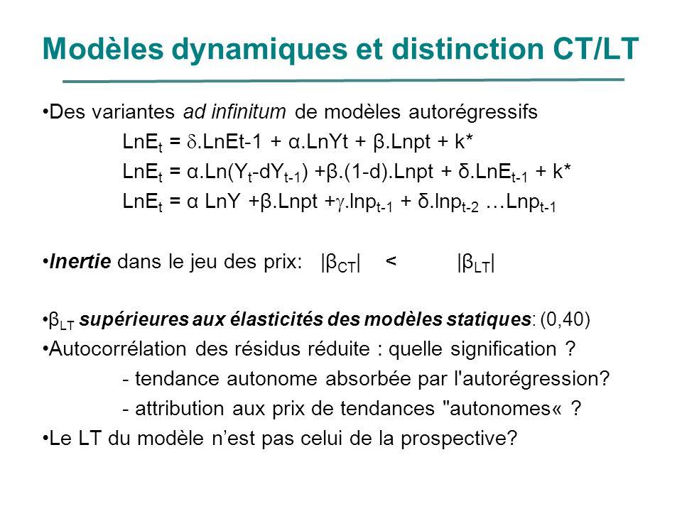 Modèles dynamiques et distinction CT/LT