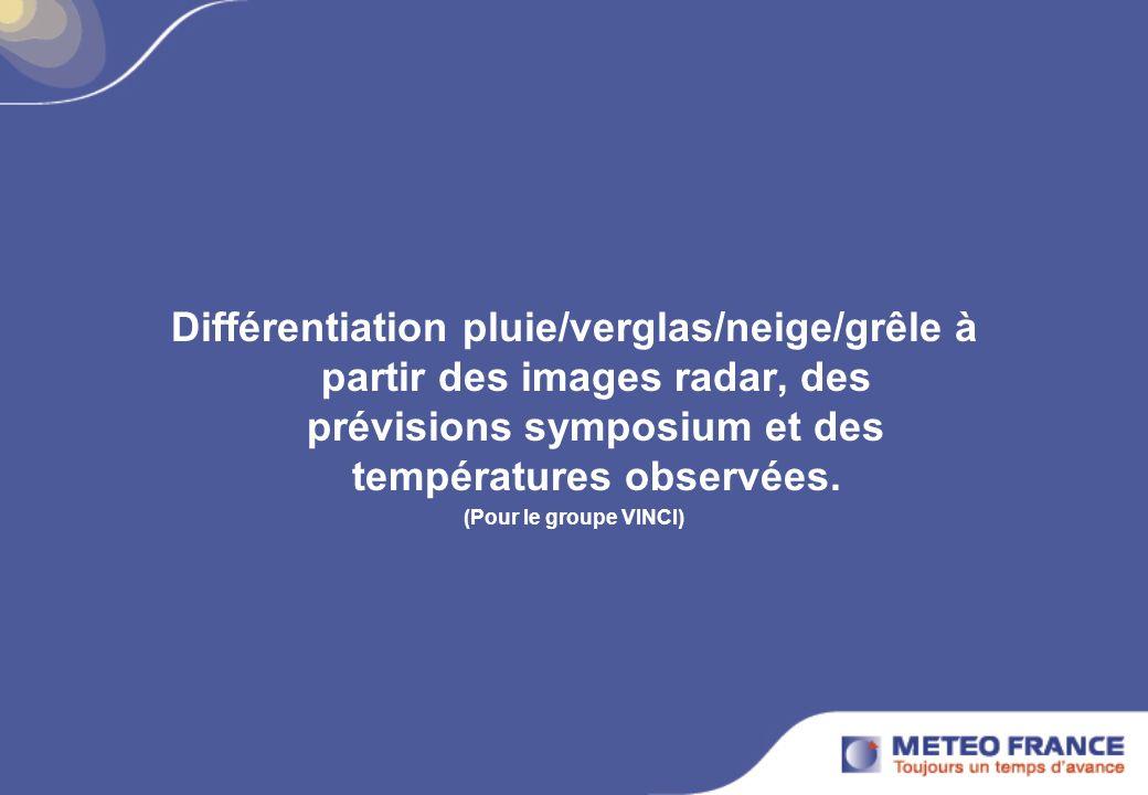 Différentiation pluie/verglas/neige/grêle à partir des images radar, des prévisions symposium et des températures observées.