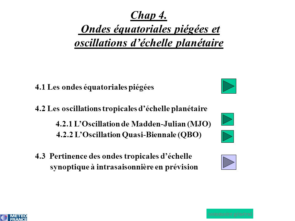 Chap 4. Ondes équatoriales piégées et oscillations d'échelle planétaire