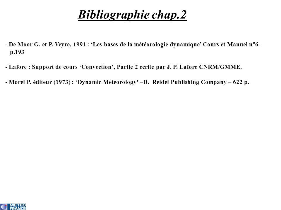 Bibliographie chap.2 De Moor G. et P. Veyre, 1991 : 'Les bases de la météorologie dynamique' Cours et Manuel n°6 -