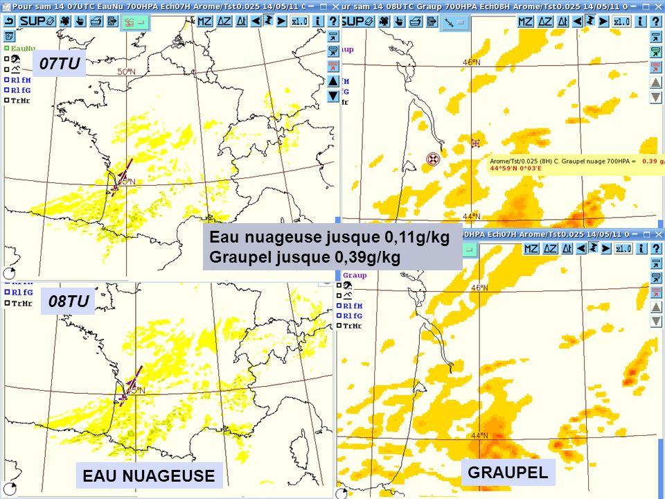 07TU Eau nuageuse jusque 0,11g/kg Graupel jusque 0,39g/kg 08TU EAU NUAGEUSE GRAUPEL