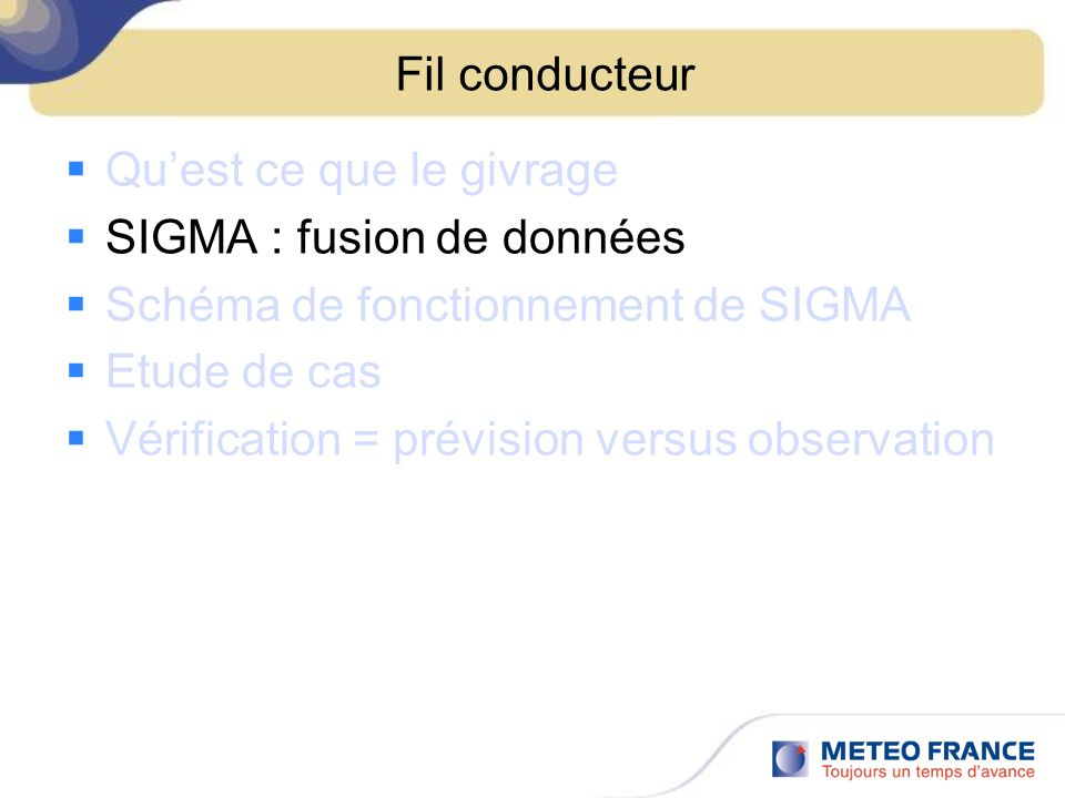 Fil conducteur Qu'est ce que le givrage. SIGMA : fusion de données. Schéma de fonctionnement de SIGMA.