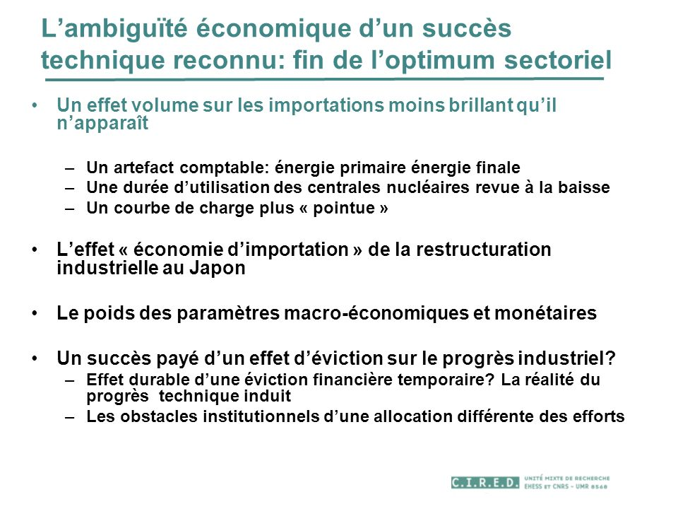 L'ambiguïté économique d'un succès technique reconnu: fin de l'optimum sectoriel